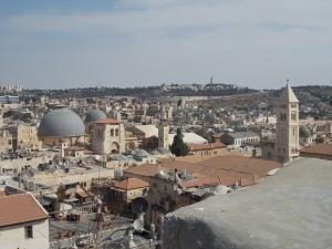 The two grey domes of the Church of the Resurrection, site of Golgotha and Jesus' tomb