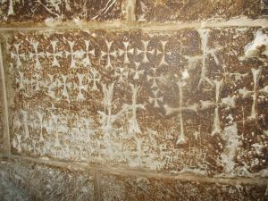 Crusader graffiti in the Church of the Resurrection.