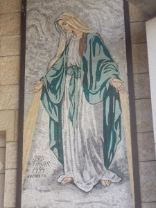 One of the many mosaics at the Basilica of the Annunciation in Nazareth.