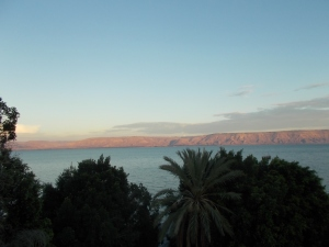 View from the hostel roof terrace in Tiberias over the Sea of Galilee.