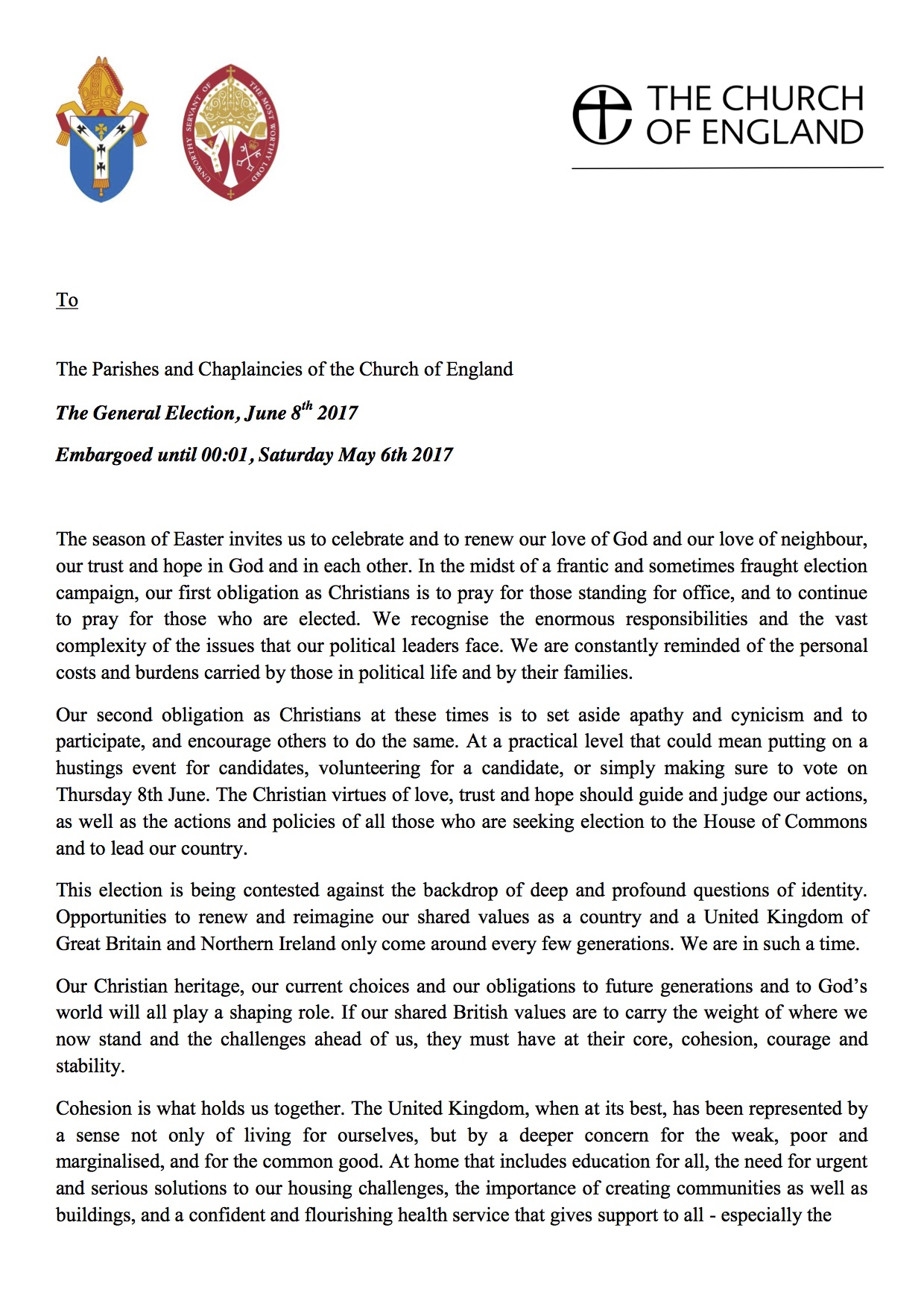 General Election Letter From The Archbishop Of Canterbury